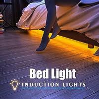 Apleye Movimiento activado luz de la cama, Flexible LED tira Sensor de movimiento Night Light Iluminación de la lámpara de cabecera con Temporizador de apagado automático (Warm Soft Glow) para Dormitorio, Gabinete, Escaleras (para cama individual)