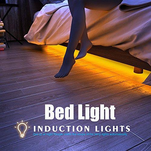 Apleye Motion Activated Bed Light, Flexible LED Strip Sensor de mouvement éclairage de nuit Lampe de chevet Illumination avec minuterie d'arrêt automatique (Warm Soft Glow) pour chambre à coucher, armoire, escalier (pour lit simple)