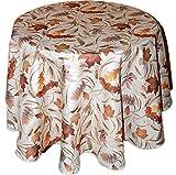 Klassische Tischdecke Rund 150 cm Tischtuch Tafeltuch Pflegeleicht Bügelfrei preiswert Creme BLäTTER Farbig Deko Herbst (Tischdecke Rund 150 cm)