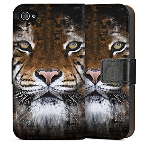 Apple iPhone 5 Housse Outdoor Étui militaire Coque Tigre Animaux Félin Sideflip Sac