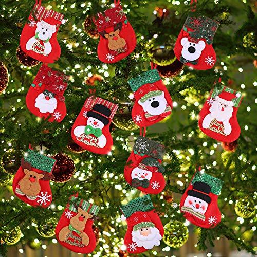 12 pezzi mini calze di natale, piccole calze di natale regalo e trattare borse portastoviglie da appendere calze per albero di natale, casa, giardino e decorazione finestra di visualizzazione