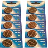 10 x CR2450 3V Lithium Knopfzelle 540 mAh ( 2 Blistercards a 5 Batterien ) Markenware Eunicell