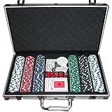Set Da Poker Con 300 Chips 5 Dadi 2 Mazzi di Carte 1 Pulsante del Rivenditore 2 Chiavi