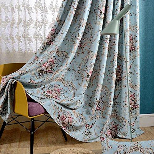 Preisvergleich Produktbild Vorhänge-Kampagne Druck Stufenheck Vorhänge mit Blumen Vorhänge Farbton von Schallschutz Shade Thicken Wohnzimmer Schlafzimmer ein Panel 1pc(150x220cm)