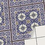 creatisto Fliesenaufkleber Fliesenfolie Mosaikfliesen - Klebefolie Aufkleber für Wand-Fliesen | Klebefliesen Deko Folien für Fliesen Ornament in Bad u. Küche (10x10 cm | 18 -Teilig)