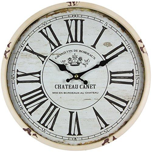 perla pd design Metall Wanduhr mit Glasscheibe Vintage Design Chateau Canet altweiß lackiert ca. Ø 30 cm