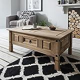 Table basse Corona bois à 1 tiroir en pin ciré