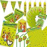 75-teiliges Deko-Set * PONY UND PFERDE * zum Kindergeburtstag oder Motto-Party // mit Tischdecke + Wimpelkette + Partytüten + Luftballons + Trinkhalme + Kerzen + Luftballons + Luftschlangen // Kinder Geburtstag Dekoration