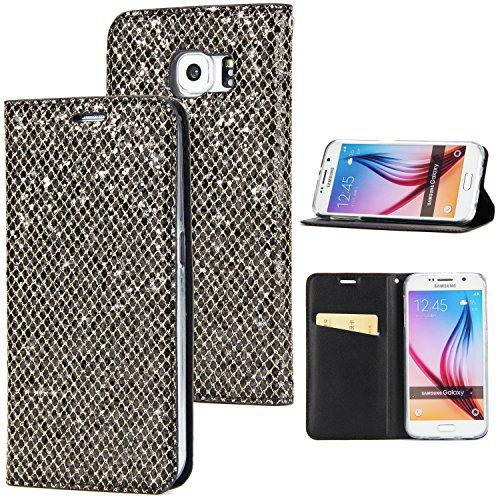 Preisvergleich Produktbild Sycode Elegant Edel Stilvoll Luxus Schwarz Glitzer PU-Leder Buchstil Wallet Brieftasche Schutzhülle Etui für Samsung Galaxy S7 Edge-Schwarz