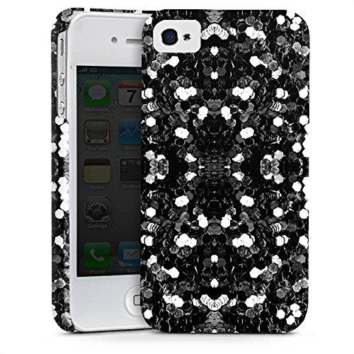 Apple iPhone X Silikon Hülle Case Schutzhülle Glitzer Silber Muster Premium Case glänzend