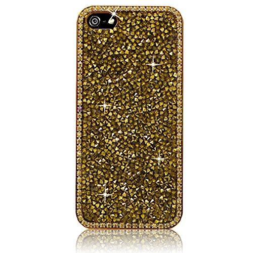 Xtra-Funky Hülle Kompatibel mit iPhone 4 / 4S, Kristallrhinestone-Felsen Harter Fall mit Sekt Diamante Kanten und Chrom-Rim - Gold