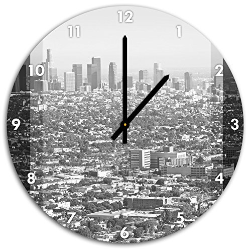 Stil.Zeit Los Angeles Metropolitan Area schwarz/weiß, Wanduhr Durchmesser 48cm mit schwarzen Spitzen Zeigern und Ziffernblatt - Metropolitan Insel