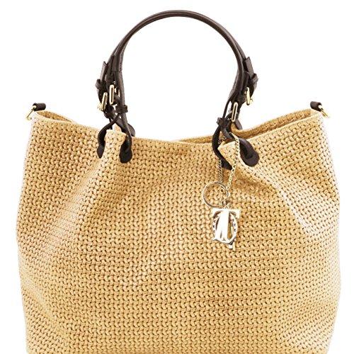 Tuscany Leather TL KeyLuck - Sac shopping TL SMART en cuir imprimé tressé - Grand modèle Taupe clair Sacs à bandoulière en cuir Taupe clair