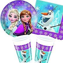 37piezas Party * Frozen Northern Lights * con plato + taza + Servilletas + decoración//de Disney/Carpeta®/infantiles/Fiesta De Cumpleaños Fiesta temática Globos Decoración Chica Frozen Elsa Anna Olaf