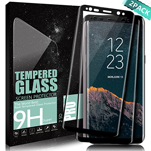 Protector de pantalla Galaxy S8 Plus, DanTeng [2-Pack] Vidrio Templado Cobertura Completa Anti-Scratch HD Clear Screen Protector Para Samsung Galaxy S8 Plus - Negro