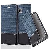 Cadorabo Hülle für Samsung Galaxy Alpha - Hülle in DUNKEL BLAU SCHWARZ – Handyhülle mit Standfunktion und Kartenfach im Stoff Design - Case Cover Schutzhülle Etui Tasche Book
