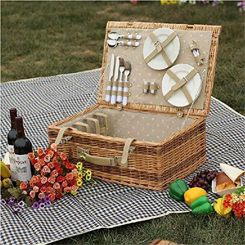 SNKTBWANGCY Wicker Picknickkorbfür Ablagekörbe Vintage Wicker Picknickkorb Set für Familien -