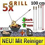 5 x GRILLSPIESS !!! MIT REINIGER-BÜRSTE !!! SET Grillspieße für Picknickset Picknick-Grill...