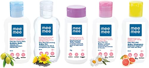 Mee Mee Baby Care Travel Kit (Pack of 5, White)