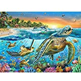 5D pittura diamante ricamo Full drill Cross Stitch Craft DIY Art Home Wall Decor Sea Turtle, mondo sottomarino, pesci, alghe, stelle, Tramonti (30 x 40 cm)