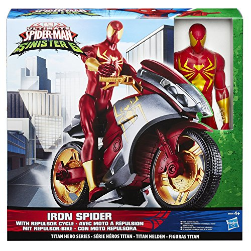Image of Spider-Man Ultimate Spider-Man vs The Sinister Six Titan Hero Series Iron Spider Toy with Repulsor Cycle