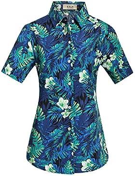 SSLR Camisa Hawaiana Aloha Mujer Manga Corta Blusa Casual Estampada Jungla