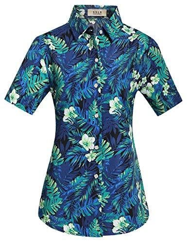 SSLR-Camisa-Hawaiana-Aloha-Mujer-Manga-Corta-Blusa-Casual-Estampada-Jungla
