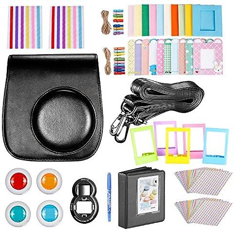 Neewer schwarz 10 in 1 Zubehör Kit für Fujifilm Instax Mini 8/8s/8+/9 : Kameratasche; Album; Selfie Objektiv; 4 farbiger Filter, 5 Filmtisch Rahmen, 20 Wand hängender Rahmen, 40 Rand Aufkleber, 2 Eckaufkleber, Stift