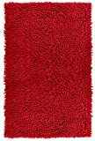 Lashuma Badvorleger Chenille Chili - Rot | Klassische Badematte | 100% Baumwolle | 50 x 80 cm