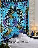 RAJRANG Boho Tuch Blau Tapestry Tapisserie Wandtuch Boho Hippie Yoga Boho Deko Baumwolle Indisch Wandbehang Sonne Mond Wandteppich