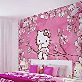 Hello Kitty - Wallsticker Warehouse - Fototapete - Tapete - Fotomural - Mural Wandbild - (454WM) - XXL - 312cm x 219cm - VLIES (EasyInstall) - 3 Pieces