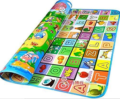 Stillcool tappeto ripiegabile con animali tappetino gioco per bambini gioco doppia faccia impermeabile grande per casa e all'aperto 200 * 180cm (l)