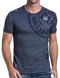 BLZ jeans - Tee-shirt homme bleu chiné imprimé avec poche
