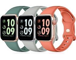 Maledan 3 Pack Correas Compatible con Apple Watch Correa 44mm 42mm 40mm 38mm, Correa de Silicona Suave de Repuesto Compatible