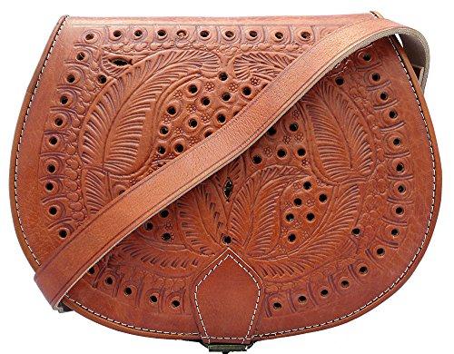 - 61cyYWrTSIL - TM Handmade Real Leather Saddle Handbag Vintage Style Cutwork In Tan