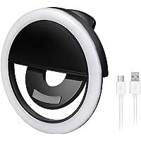 Etlephe Selfie Light Ring, Selfie Anneau Lumière Rechargeable, 36 LED Clip-on Lumière Anneau Supplémentaire Selfie Éclairage LED Amélioration Fill Light pour Smartphones Tablettes, USB Chargé - Noir