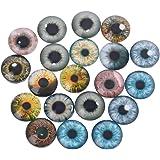 Cuigu 20Pcs/ Set Yeux de Verre pour Artisanat de Poupée Bricolage Jouet de Dessin Animé Globes Oculaires Oeil Fait Main Fabri