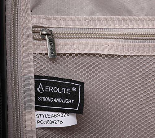 Aerolite ABS Hartschale 4 Rollen Leichtgewicht Handgepäck Kabinenkoffer mit eingebautem TSA Schloss, Genehmigt für Ryanair, British Airways & Viele Mehr, 79cm, Schwarz - 6