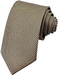 PenSee Mens Silk Tie Geometric Formal Necktie 7 Colors