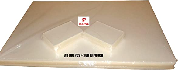Tclpvc Lamination Paper Pouch Sheet For Laminator Machine A3 100 Sheets + 200 Pouches Id Card Size Product Code 240