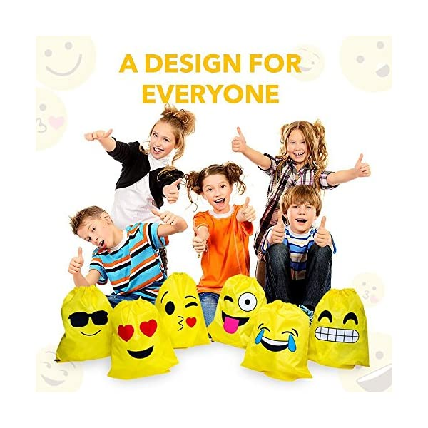 61cyeK1duNL. SS600  - JZK 12pcs Encantador Emoji cordón Dibujos Animados Mochila Bolsas PE para cumpleaños niños y Adultos la Fiesta favorece la Bolsa, Rellenos Bolsas Fiesta
