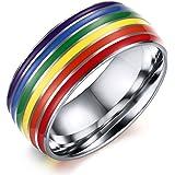 Lgbt gay pride Jewelry gay Lesbian smalto con arcobaleno anello in acciaio INOX, 8mm di larghezza, argento