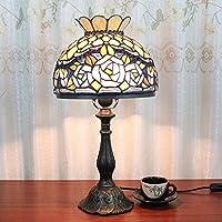 10 pollici Vintage Pastorale Bella Rosa di vetro macchiato di stile di Moderno lampada da tavolo da letto lampada da comodino Lampada