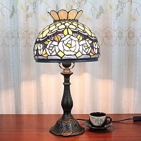 10 pulgadas de Pastoral Vintage Rose hermosa del vitral del estilo de Eeuropeo lámpara de mesa lámpara de cabecera del dormitorio de la lámpara