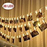 LED-Foto-Clips Lichterketten - 20 Foto-Clips für hängende Fotos Karten Artwork für Indoor / Outdoor Schlafzimmer Patio Parteien Hochzeit Indoor Outdoor Heiratsantrag Dorm Room (Warm White)