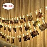 LED-Foto-Clips Lichterketten - 20 Foto-Clips für hängende Fotos Karten Artwork für Indoor / Outdoor Schlafzimmer Patio Parteien Hochzeit Indoor Outdoor Heiratsantrag Dorm Room (Warm White)
