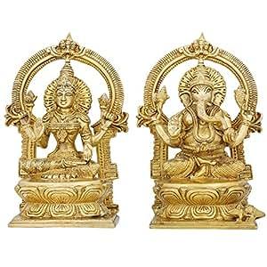 Set of Lakshmi Ganesha Idols Hindu Diwali Puja Statues Brass 9.5 X 5 Inches