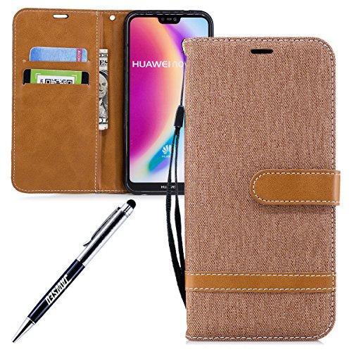 Custodia Huawei P20 Lite, Cover Huawei P20 Lite Custodia Portafoglio, JAWSEU Lusso Denim Pelle Flip Cover Custodia for…