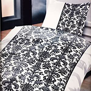 Parure de lit comprenant 4 pièces en microfibre noir de style baroque ökö tex standard qualité certifiée öko tex qualité certifiée aRT 4