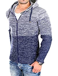 Reslad Strickjacke Herren Colorblock Kapuzen-Jacke Cardigan Winter-Jacke RS-3109
